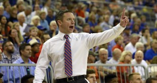 Dec 1, 2015; Gainesville, FL, USA; Florida Gators head coach Mike White calls a play against the Richmond Spiders during the first half at Stephen C. O'Connell Center. Mandatory Credit: Kim Klement-USA TODAY Sports