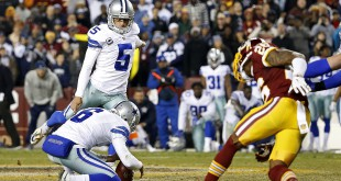 Dec 7, 2015; Landover, MD, USA; Dallas Cowboys kicker Dan Bailey (5) kicks the game-winning field goal in the final seconds of the fourth quarter against the Washington Redskins at FedEx Field. The Cowboys won 19-16. Mandatory Credit: Geoff Burke-USA TODAY Sports