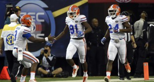 Dec 5, 2015; Atlanta, GA, USA; Florida Gators wide receiver Antonio Callaway (81) celebrates after returning a punt for a touchdown against the Alabama Crimson Tide during the second quarter of the 2015 SEC Championship Game at the Georgia Dome. Mandatory Credit: John David Mercer-USA TODAY Sports