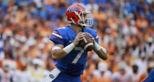Sep 26, 2015; Gainesville, FL, USA;  Florida Gators quarterback Will Grier (7) drops back against the Tennessee Volunteers during the first half at Ben Hill Griffin Stadium. Credit: Kim Klement-USA TODAY Sports