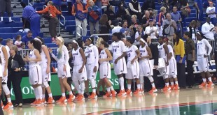 Gators lined up for handshakes after the win over Arkansas State.