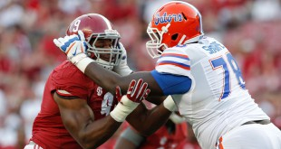Sep 20, 2014; Tuscaloosa, AL, USA; Florida Gators offensive linesman David Sharpe (78) pushes away Alabama Crimson Tide defensive lineman  DaShawn Hand (9)at Bryant-Denny Stadium. Mandatory Credit: Marvin Gentry-USA TODAY Sports