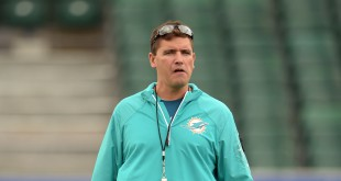 Sep 26, 2014; London, UNITED KINGDOM; Miami Dolphins offensive coordinator Bill Lazor at practice at Allianz Park in advance of the NFL International Series game between the Miami Dolphins and the Oakland Raiders. Mandatory Credit: Kirby Lee-USA TODAY Sports