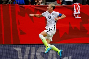 Jun 16, 2015; Vancouver, British Columbia, CAN; United States forward Abby Wambach (20) celebrates after scoring a goal against Nigeria during the first half in a Group D soccer match in the 2015 FIFA women's World Cup at BC Place Stadium. Mandatory Credit: Michael Chow-USA TODAY Sports