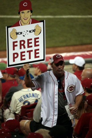 Jul 14, 2015; Cincinnati, OH, USA; A fan holds a sign for Pete Rose (not pictured) during the fifth inning of the 2015 MLB All Star Game at Great American Ball Park. Mandatory Credit: David Kohl-USA TODAY Sports