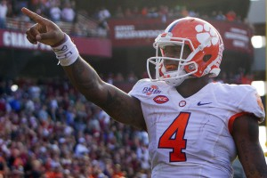 Nov 28, 2015; Columbia, SC, USA; Clemson Tigers quarterback Deshaun Watson (4) reacts after scoring a touchdown during the second half against the South Carolina Gamecocks at Williams-Brice Stadium. Mandatory Credit: Joshua S. Kelly-USA TODAY Sports