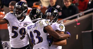 Nov 30, 2015; Cleveland, OH, USA; Baltimore Ravens wide receiver Kaelin Clay (right) celebrates with teammates after returning a punt for a touchdown in the first half against the Cleveland Browns at FirstEnergy Stadium. Mandatory Credit: Aaron Doster-USA TODAY Sports