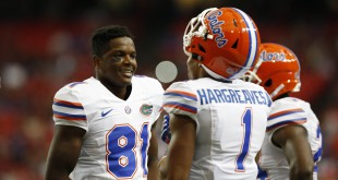 Dec 5, 2015; Atlanta, GA, USA; Florida Gators defensive back Vernon Hargreaves III (1) talks with wide receiver Antonio Callaway (81) prior to the 2015 SEC Championship Game against the Alabama Crimson Tide at the Georgia Dome. Mandatory Credit: Jason Getz-USA TODAY Sports
