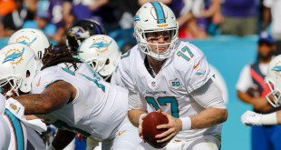 Dec 6, 2015; Miami Gardens, FL, USA; Miami Dolphins quarterback Ryan Tannehill (17) drops back to pass against the Baltimore Ravens during the first half at Sun Life Stadium. Mandatory Credit: Steve Mitchell-USA TODAY Sports
