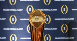 Dec 6, 2015; Grapevine, TX, USA; The college football playoff national championship trophy on display on Selection Day at the Gaylord Texan Hotel. Mandatory Credit: Kevin Jairaj-USA TODAY Sports