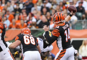 Dec 13, 2015; Cincinnati, OH, USA; Cincinnati Bengals quarterback Andy Dalton (14) throws the ball the Pittsburgh Steelers in the first half at Paul Brown Stadium. Mandatory Credit: Aaron Doster-USA TODAY Sports