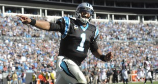 Dec 13, 2015; Charlotte, NC, USA; Carolina Panthers quarterback Cam Newton (1) celebrates after his team scores a touchdown during the first half of the game against the Atlanta Falcons at Bank of America Stadium. Mandatory Credit: Sam Sharpe-USA TODAY Sports