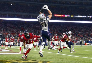 Dec 13, 2015; Houston, TX, USA; New England Patriots tight end Rob Gronkowski (87) catches a touchdown pass past Houston Texans strong safety Quintin Demps (27) during the second quarter at NRG Stadium. Mandatory Credit: Kevin Jairaj-USA TODAY Sports