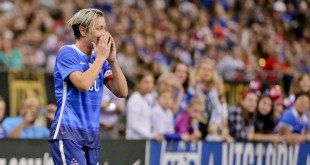 Dec 16, 2015; New Orleans, LA, USA;  United States of America forward Abby Wambach (20) reacts to a call during the first half of the World Cup Victory Tour match against the China PR at the Mercedes-Benz Superdome. Mandatory Credit: Derick E. Hingle-USA TODAY Sports