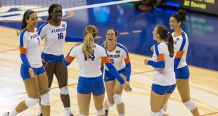The Gators celebrate their win in round one of the NCAA Tournament over New Hampshire.