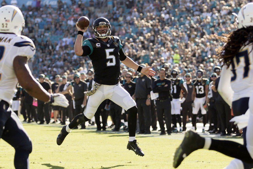 Nov 29, 2015; Jacksonville, FL, USA; Jacksonville Jaguars quarterback Blake Bortles (5) looks to pass in the third quarter against the San Diego Chargers at EverBank Field. The San Diego Chargers 31-25. (Logan Bowles-USA TODAY Sports)
