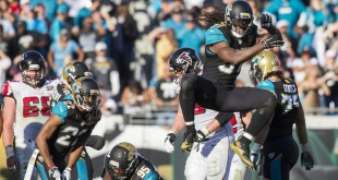 Dec 20, 2015; Jacksonville, FL, USA; Jacksonville Jaguars strong safety Johnathan Cyprien (37) celebrates after a play in the fourth quarter at EverBank Field. The Atlanta Falcons won 23-17. Mandatory Credit: Logan Bowles-USA TODAY Sports