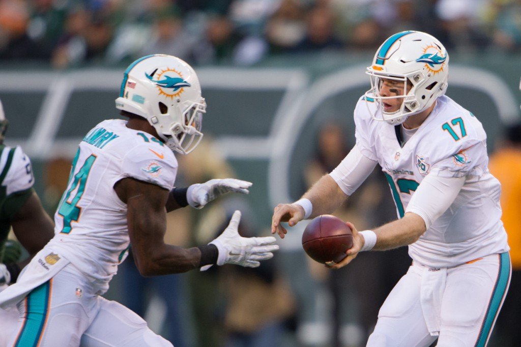 Nov 29, 2015; East Rutherford, NJ, USA; Miami Dolphins quarterback Ryan Tannehill (17) hands the ball off to Miami Dolphins wide receiver Jarvis Landry (14) In the 2nd half at MetLife Stadium.The Jets defeated the Dolphins 38-20. (Credit: William Hauser-USA TODAY Sports)