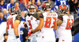 Nov 29, 2015; Indianapolis, IN, USA; Tampa Bay Buccaneers quarterback Jameis Winston (3) celebrates in the end zone after throwing a first half touchdown pass against the Indianapolis Colts at Lucas Oil Stadium. (Thomas J. Russo-USA TODAY Sports)