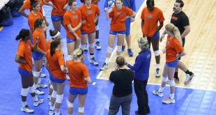 The Florida Gator volleyball team prepares for their game tonight in Texas. Courtesy of Gatorzone.com