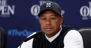 Jul 14, 2015; St. Andrews, Scotland, GBR; Tiger Woods speaks at a press conference during a practice round for the 144th Open Championship at Royal and Ancient Golf Club of St Andrews. Mandatory Credit: Brian Spurlock-USA TODAY Sports