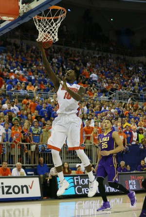 Jan 9, 2016; Gainesville, FL, USA; Florida Gators forward Dorian Finney-Smith (10) shoots a layup against the LSU Tigers during the first half at Stephen C. O'Connell Center. Mandatory Credit: Kim Klement-USA TODAY Sports