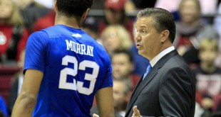 Jan 9, 2016; Tuscaloosa, AL, USA; Kentucky Wildcats head coach John Calipari talks to guard Jamal Murray (23) during the game against Alabama Crimson Tide at Coleman Coliseum. Mandatory Credit: Marvin Gentry-USA TODAY Sports