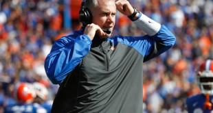 Nov 15, 2014; Gainesville, FL, USA; Florida Gators defensive coordinator D.J. Durkin during the second quarter against the South Carolina Gamecocks at Ben Hill Griffin Stadium. Mandatory Credit: Kim Klement-USA TODAY Sports