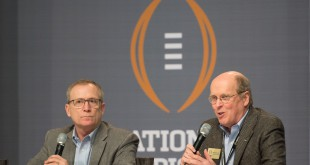 January 10, 2015; Arlington, TX, USA; College Football Playoff selection committee chairman Jeff Long (left) and executive director Bill Hancock (right) speak during fanfest at Dallas Convention Center. Mandatory Credit: Kyle Terada-USA TODAY Sports