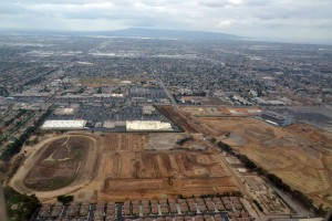 General aerial view of Hollywood Park racetrack. The site is a proposed location for an 80,000-seat NFL stadium by St. Louis Rams owner Stan Kroenke (not pictured). Mandatory Credit: Kirby Lee-USA TODAY Sports