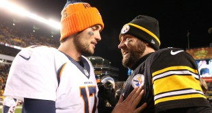 Dec 20, 2015; Pittsburgh, PA, USA; Denver Broncos quarterback Brock Osweiler (17) and Pittsburgh Steelers quarterback Ben Roethlisberger (7) meet at mid-field after their game at Heinz Field. The Steelers won 34-27. Mandatory Credit: Charles LeClaire-USA TODAY Sports