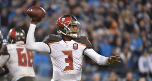 Jan 3, 2016; Charlotte, NC, USA; Tampa Bay Buccaneers quarterback Jameis Winston (3) looks to pass in the third quarter. The Panthers defeated the Buccaneers 31-10 at Bank of America Stadium. Mandatory Credit: Bob Donnan-USA TODAY Sports