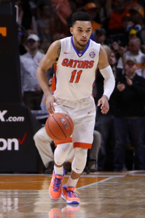 Jan 6, 2016; Knoxville, TN, USA; Florida Gators guard Chris Chiozza (11) brings the ball up court against the Tennessee Volunteers during the second half at Thompson-Boling Arena. Tennessee won 83 to 69. Mandatory Credit: Randy Sartin-USA TODAY Sports