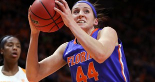 Jan 6, 2016; Knoxville, TN, USA; Florida Gators forward Haley Lorenzen (44) goes to the basket against the Tennessee Lady Volunteers during the second quarter at Thompson-Boling Arena. Florida won 74 to 66. Mandatory Credit: Randy Sartin-USA TODAY Sports