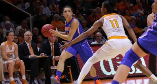 Jan 6, 2016; Knoxville, TN, USA; Florida Gators guard Carlie Needles (4) passes the ball against Tennessee Lady Volunteers guard Diamond DeShields (11) during the second quarter at Thompson-Boling Arena. Florida won 74 to 66. Mandatory Credit: Randy Sartin-USA TODAY Sports