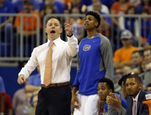 Jan 9, 2016; Gainesville, FL, USA; Florida Gators head coach Mike White reacts against the LSU Tigers during the first half at Stephen C. O'Connell Center. Mandatory Credit: Kim Klement-USA TODAY Sports