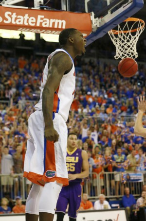 Jan 9, 2016; Gainesville, FL, USA; Florida Gators forward Dorian Finney-Smith (10) reacts as he makes a layup against the LSU Tigers during the first half at Stephen C. O'Connell Center. Mandatory Credit: Kim Klement-USA TODAY Sports