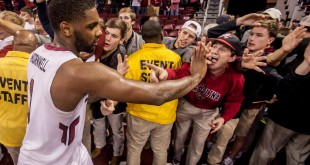 Jan 9, 2016; Columbia, SC, USA; South Carolina Gamecocks guard Sindarius Thornwell (0) celebrates with fans after scoring a game-high 19 points in their 69-65 win over the Vanderbilt Commodores at Colonial Life Arena. Mandatory Credit: Jeff Blake-USA TODAY Sports
