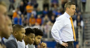 Jan 19, 2016; Gainesville, FL, USA; Florida Gators head coach Mike White looks on from the bench in the second half against Mississippi State Bulldogs at Stephen C. O'Connell Center. The Florida Gators 81-78. Mandatory Credit: Logan Bowles-USA TODAY Sports