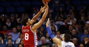 Jan 20, 2016; Orlando, FL, USA;  Philadelphia 76ers center Jahlil Okafor (8) shoots over Orlando Magic center Nikola Vucevic (9) during the second half at Amway Center. Philadelphia 76ers defeated the Orlando Magic 96-87. Mandatory Credit: Kim Klement-USA TODAY Sports
