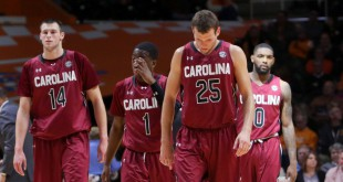 Jan 23, 2016; Knoxville, TN, USA; The South Carolina Gamecocks react during the second half against the Tennessee Volunteers at Thompson-Boling Arena. Tennessee won 78 to 69. Mandatory Credit: Randy Sartin-USA TODAY Sports