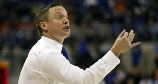 Jan 23, 2016; Gainesville, FL, USA; Florida Gators head coach Mike White signals his team during the first half of a basketball game against the Auburn Tigers at Stephen C. O'Connell Center. Mandatory Credit: Reinhold Matay-USA TODAY Sports