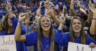 Jan 23, 2016; Gainesville, FL, USA; Florida Gators fans cheer during the second half of a basketball game against the Auburn Tigers at Stephen C. O'Connell Center. The Gators won 95-63. Mandatory Credit: Reinhold Matay-USA TODAY Sports