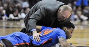 Jan 26, 2016; Nashville, TN, USA; Florida Gators forward Justin Leon (24) lays on the floor after suffering an injury during the first half against the Vanderbilt Commodores at Memorial Gym. Mandatory Credit: Jim Brown-USA TODAY Sports