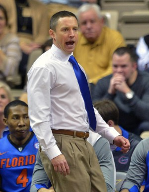 Jan 26, 2016; Nashville, TN, USA; Florida Gators head coach Mike White during the first half against the Vanderbilt Commodores at Memorial Gym. Mandatory Credit: Jim Brown-USA TODAY Sports