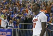 Jan 30, 2016; Gainesville, FL, USA; Florida Gators forward Dorian Finney-Smith (10) reacts after he dunks the ball during the second half of a basketball game against the West Virginia Mountaineers at the Stephen C. O'Connell Center. Florida won 88-71. Mandatory Credit: Reinhold Matay-USA TODAY Sports