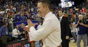 Jan 9, 2016; Gainesville, FL, USA; Florida Gators head coach Mike White smiles and reacts as they beat the LSU Tigers at Stephen C. O'Connell Center. Florida Gators defeated the LSU Tigers 68-62. Mandatory Credit: Kim Klement-USA TODAY Sports