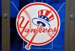 Dec 7, 2015; Nashville, TN, USA; New York Yankees logo during the MLB winter meetings at Gaylord Opryland Resort . Mandatory Credit: Jim Brown-USA TODAY Sports