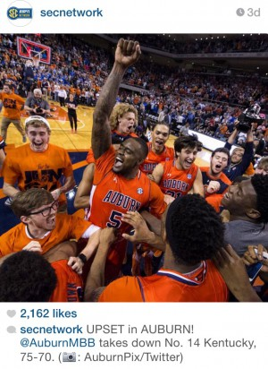 Auburn celebrates after their victory in a huge upset in which the Tigers beat the Kentucky Wildcats 75-70.