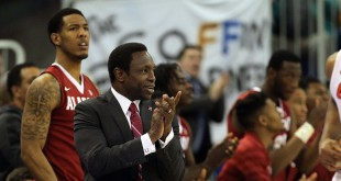 Feb 13, 2016; Gainesville, FL, USA; Alabama Crimson Tide head coach Avery Johnson claps and smiles during the second half against the Florida Gators at Stephen C. O'Connell Center. Alabama Crimson Tide defeated the Florida Gators 61-55. Mandatory Credit: Kim Klement-USA TODAY Sports
